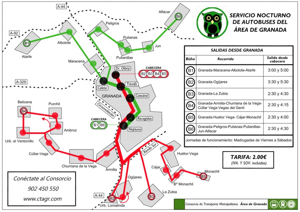 Itinerario y horario del bus buho nocturno