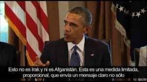 Obama, anunciando la inminente intervención en Siria, en 2013, por televisión...