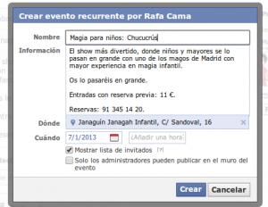 Facebook eventos