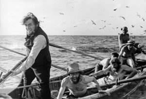 "John Huston's film ""Moby Dick""after the novel by Herman Melville, starred Gregory Peck,Orson Welles, Friedrich Ledebur and Richard Basehart.Gregory Peck (Captain Ahab) and his crew attack the White Whale. Canary Islands, 1954."