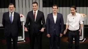 MADRID 13 06 2016 POLITICA Debate a cuatro en la campana electoral del 26J Mariano Rajoy PP Pedro Sanchez PSOE Pablo Iglesias Podemos y Albert Rivera Ciudadanos FOTO JOSE LUIS ROCA